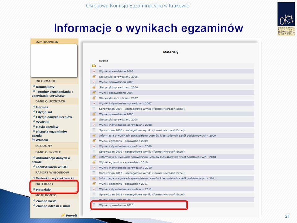 Okręgowa Komisja Egzaminacyjna w Krakowie 21