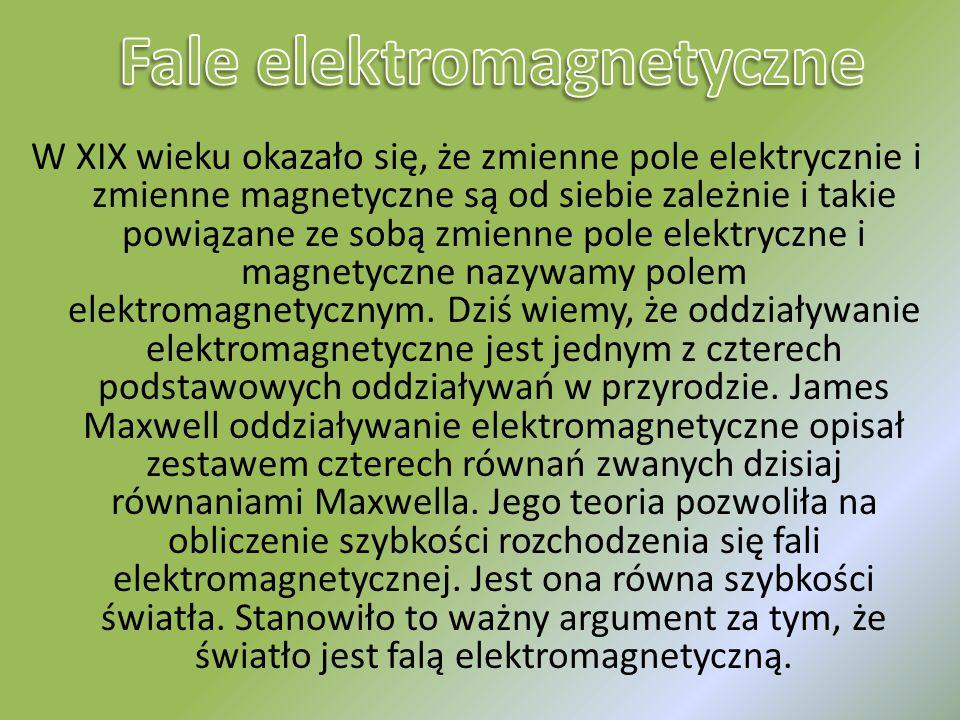 W XIX wieku okazało się, że zmienne pole elektrycznie i zmienne magnetyczne są od siebie zależnie i takie powiązane ze sobą zmienne pole elektryczne i