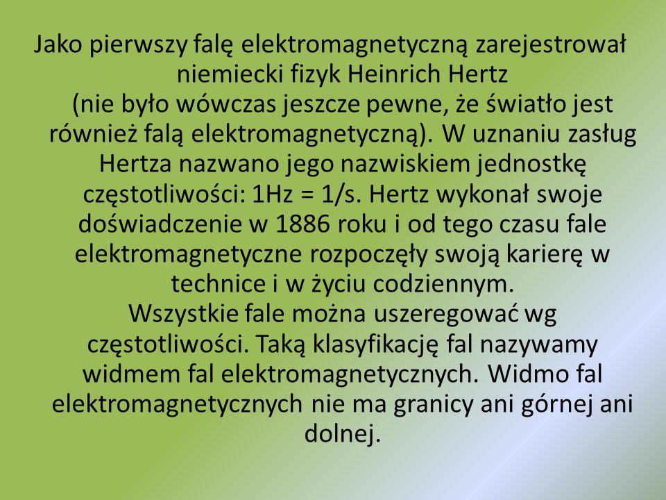 Jako pierwszy falę elektromagnetyczną zarejestrował niemiecki fizyk Heinrich Hertz (nie było wówczas jeszcze pewne, że światło jest również falą elekt
