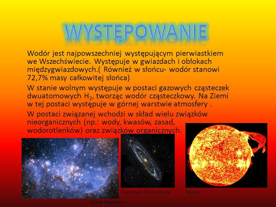 Wodór– pierwiastek chemiczny o symbolu,,H'' (łac. hydrogenium) ; niemetal z bloku s układu okresowego. Jest to najprostszy możliwy pierwiastek o liczb