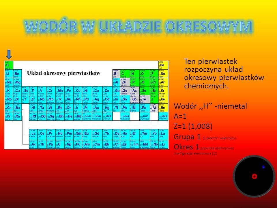 Ten pierwiastek rozpoczyna układ okresowy pierwiastków chemicznych.
