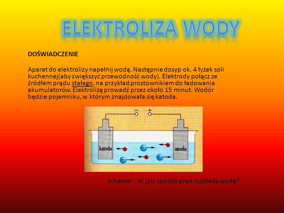 DOŚWIADCZENIE Aparat do elektrolizy napełnij wodą.