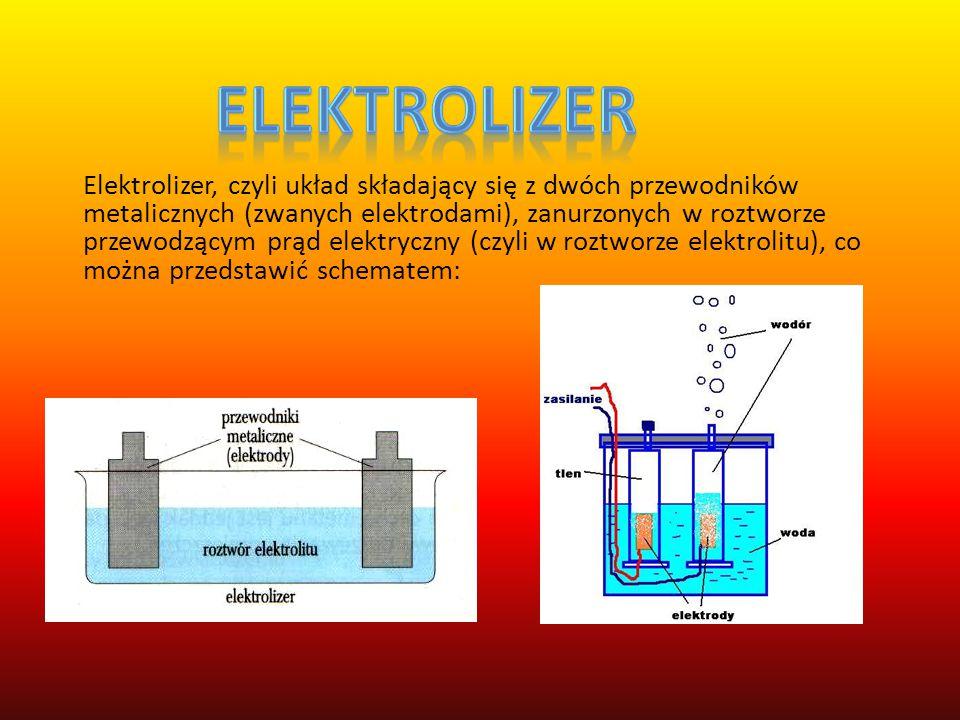 DOŚWIADCZENIE Aparat do elektrolizy napełnij wodą. Następnie dosyp ok. 4 łyżek soli kuchennej(aby zwiększyć przewodność wody). Elektrody połącz ze źró