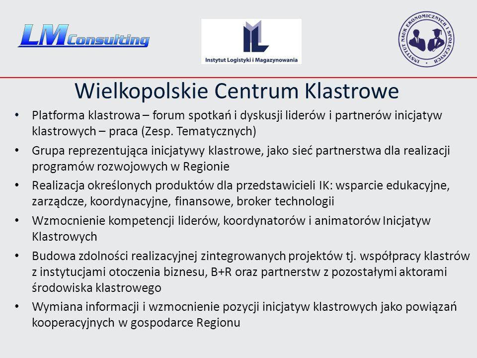 Wielkopolskie Centrum Klastrowe Platforma klastrowa – forum spotkań i dyskusji liderów i partnerów inicjatyw klastrowych – praca (Zesp. Tematycznych)