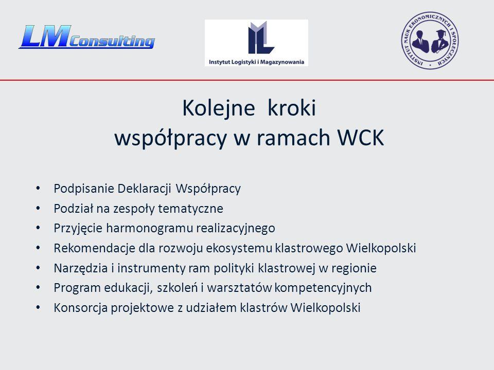 Kolejne kroki współpracy w ramach WCK Podpisanie Deklaracji Współpracy Podział na zespoły tematyczne Przyjęcie harmonogramu realizacyjnego Rekomendacje dla rozwoju ekosystemu klastrowego Wielkopolski Narzędzia i instrumenty ram polityki klastrowej w regionie Program edukacji, szkoleń i warsztatów kompetencyjnych Konsorcja projektowe z udziałem klastrów Wielkopolski