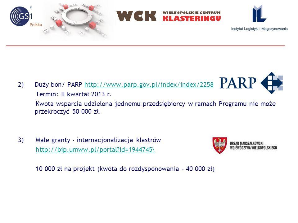 2)Duży bon/ PARP http://www.parp.gov.pl/index/index/2258http://www.parp.gov.pl/index/index/2258 Termin: II kwartał 2013 r.