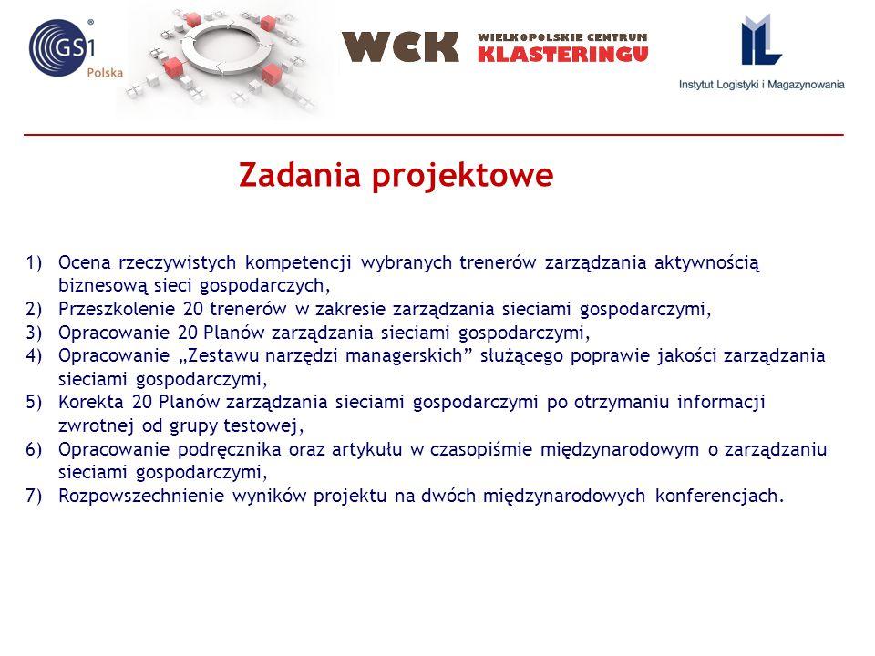 """1)Ocena rzeczywistych kompetencji wybranych trenerów zarządzania aktywnością biznesową sieci gospodarczych, 2)Przeszkolenie 20 trenerów w zakresie zarządzania sieciami gospodarczymi, 3)Opracowanie 20 Planów zarządzania sieciami gospodarczymi, 4)Opracowanie """"Zestawu narzędzi managerskich służącego poprawie jakości zarządzania sieciami gospodarczymi, 5)Korekta 20 Planów zarządzania sieciami gospodarczymi po otrzymaniu informacji zwrotnej od grupy testowej, 6)Opracowanie podręcznika oraz artykułu w czasopiśmie międzynarodowym o zarządzaniu sieciami gospodarczymi, 7)Rozpowszechnienie wyników projektu na dwóch międzynarodowych konferencjach."""