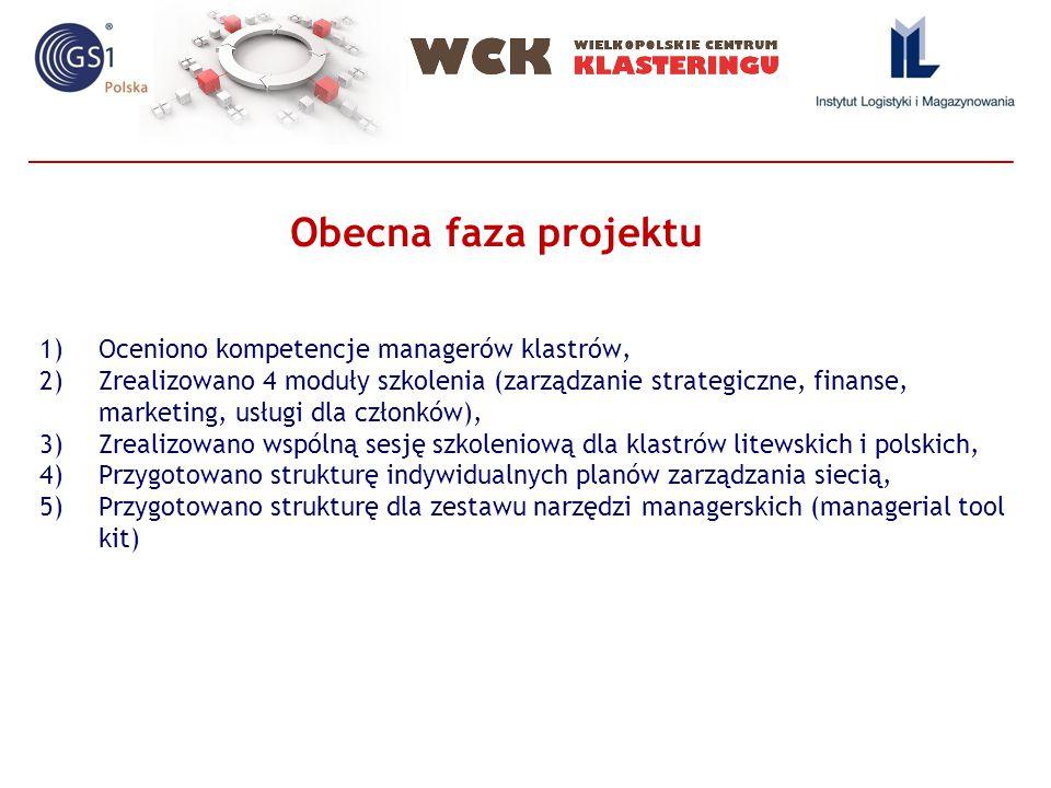 1)Oceniono kompetencje managerów klastrów, 2)Zrealizowano 4 moduły szkolenia (zarządzanie strategiczne, finanse, marketing, usługi dla członków), 3)Zrealizowano wspólną sesję szkoleniową dla klastrów litewskich i polskich, 4)Przygotowano strukturę indywidualnych planów zarządzania siecią, 5)Przygotowano strukturę dla zestawu narzędzi managerskich (managerial tool kit) Obecna faza projektu