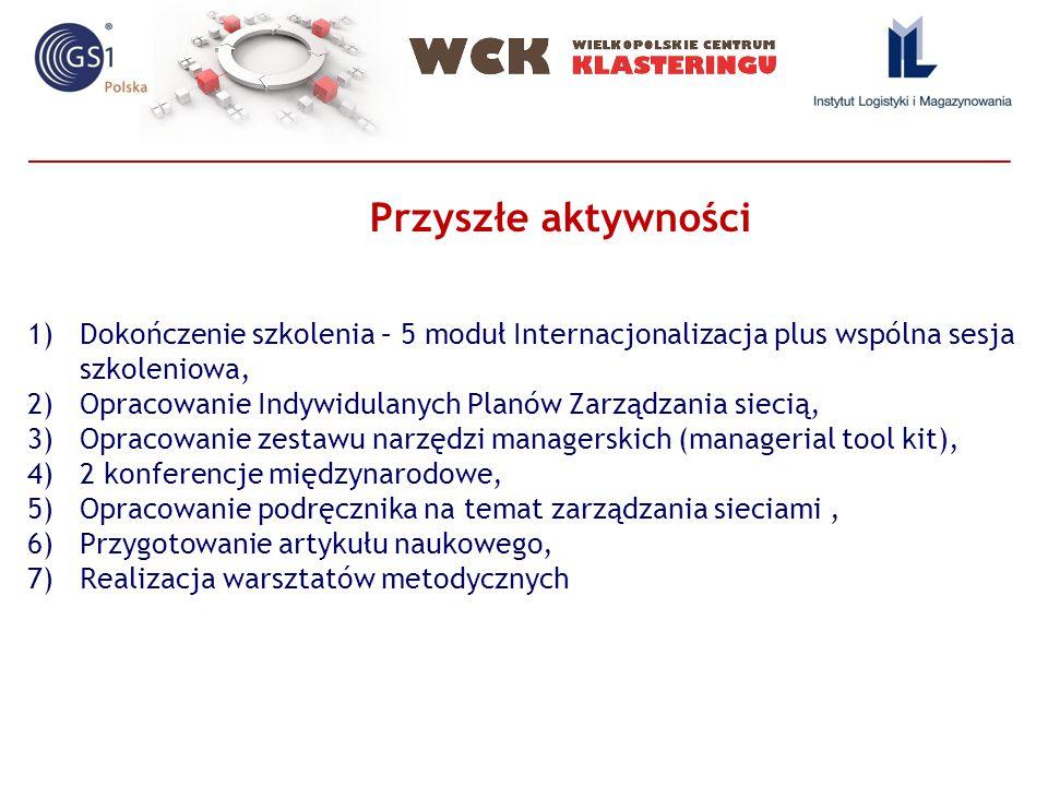 1)Dokończenie szkolenia – 5 moduł Internacjonalizacja plus wspólna sesja szkoleniowa, 2)Opracowanie Indywidulanych Planów Zarządzania siecią, 3)Opracowanie zestawu narzędzi managerskich (managerial tool kit), 4)2 konferencje międzynarodowe, 5)Opracowanie podręcznika na temat zarządzania sieciami, 6)Przygotowanie artykułu naukowego, 7)Realizacja warsztatów metodycznych Przyszłe aktywności