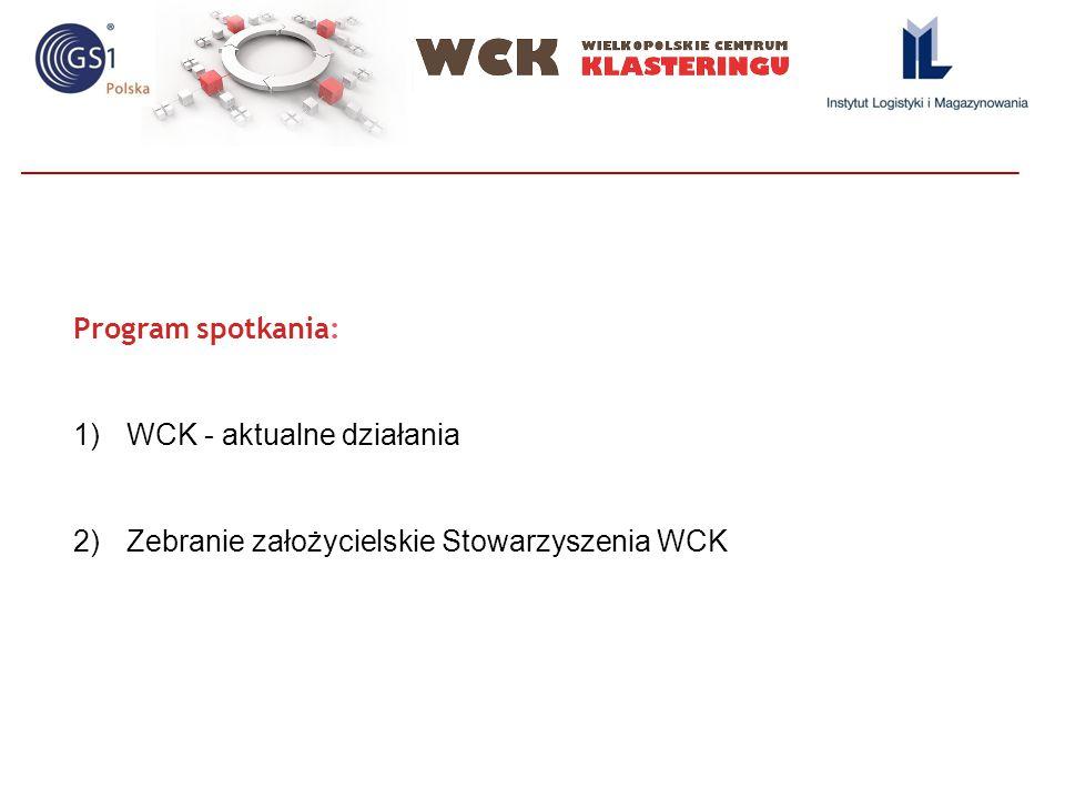 Program spotkania: 1)WCK - aktualne działania 2)Zebranie założycielskie Stowarzyszenia WCK