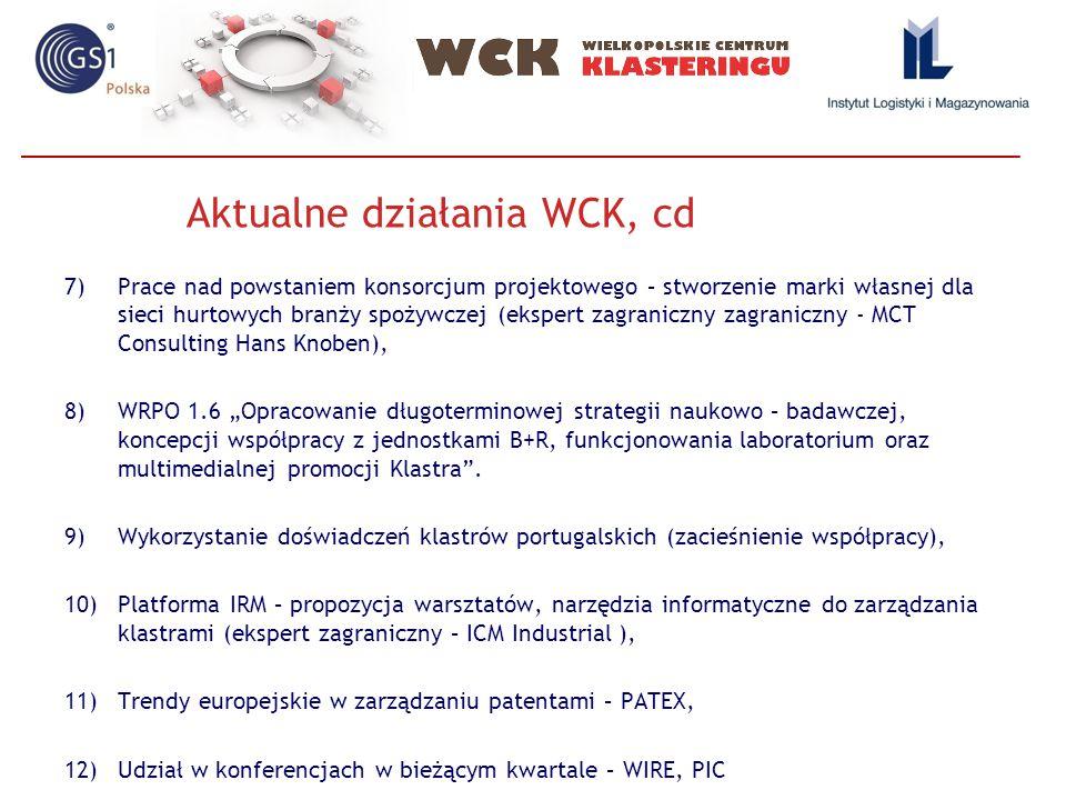 """7)Prace nad powstaniem konsorcjum projektowego – stworzenie marki własnej dla sieci hurtowych branży spożywczej (ekspert zagraniczny zagraniczny - MCT Consulting Hans Knoben), 8)WRPO 1.6 """"Opracowanie długoterminowej strategii naukowo – badawczej, koncepcji współpracy z jednostkami B+R, funkcjonowania laboratorium oraz multimedialnej promocji Klastra ."""