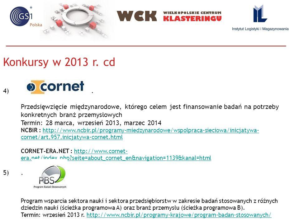 Konkursy w 2013 r. cd 4). Przedsięwzięcie międzynarodowe, którego celem jest finansowanie badań na potrzeby konkretnych branż przemysłowych Termin: 28