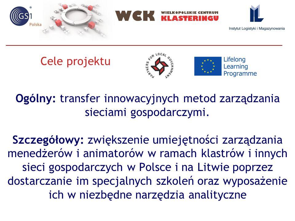 Ogólny: transfer innowacyjnych metod zarządzania sieciami gospodarczymi. Szczegółowy: zwiększenie umiejętności zarządzania menedżerów i animatorów w r