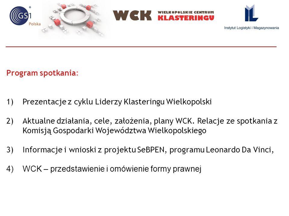 Program spotkania: 1)Prezentacje z cyklu Liderzy Klasteringu Wielkopolski 2)Aktualne działania, cele, założenia, plany WCK. Relacje ze spotkania z Kom
