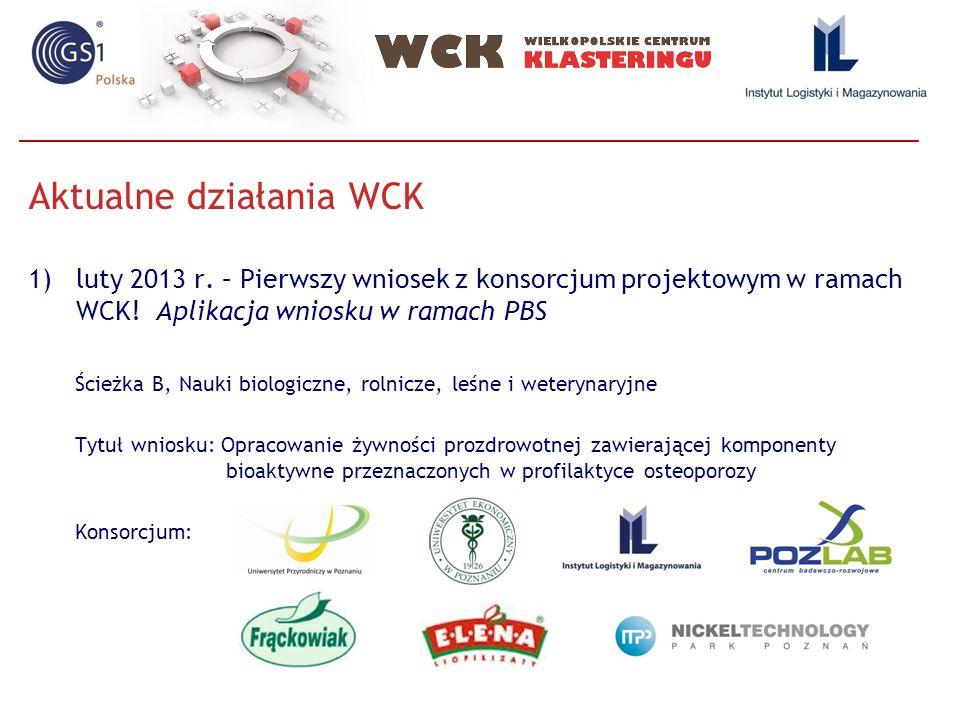 Aktualne działania WCK, cd 2)1.6 Opracowanie długoterminowej strategii naukowo- badawczej, koncepcji współpracy z jednostkami B+R, funkcjonowania laboratorium oraz multimedialnej promocji Klastra - udział Instytucji: Instytut Orkestra ( Hiszpania ), Business Arena Oy ( Finlandia ), Polytechnic Institute of Castelo Branco (Portugalia) 3)POKL/8/E.1.1/12 PWP Akademia wiedzy wielkopolskich przedsiębiorstw ( Udział Agrocluster - Portugalia ) 4)Udział w spotkaniu Komisji Gospodarki Województwa Wielkopolskiego 5)Aplikacja wniosków w ramach CORNET 6)Indywidualne spotkania z potencjalnymi członkami WCK, podmiotami chcącymi współpracować w ramach WCK 7)Aktualizacja strony www –nowe zakładki, planowane kolejne