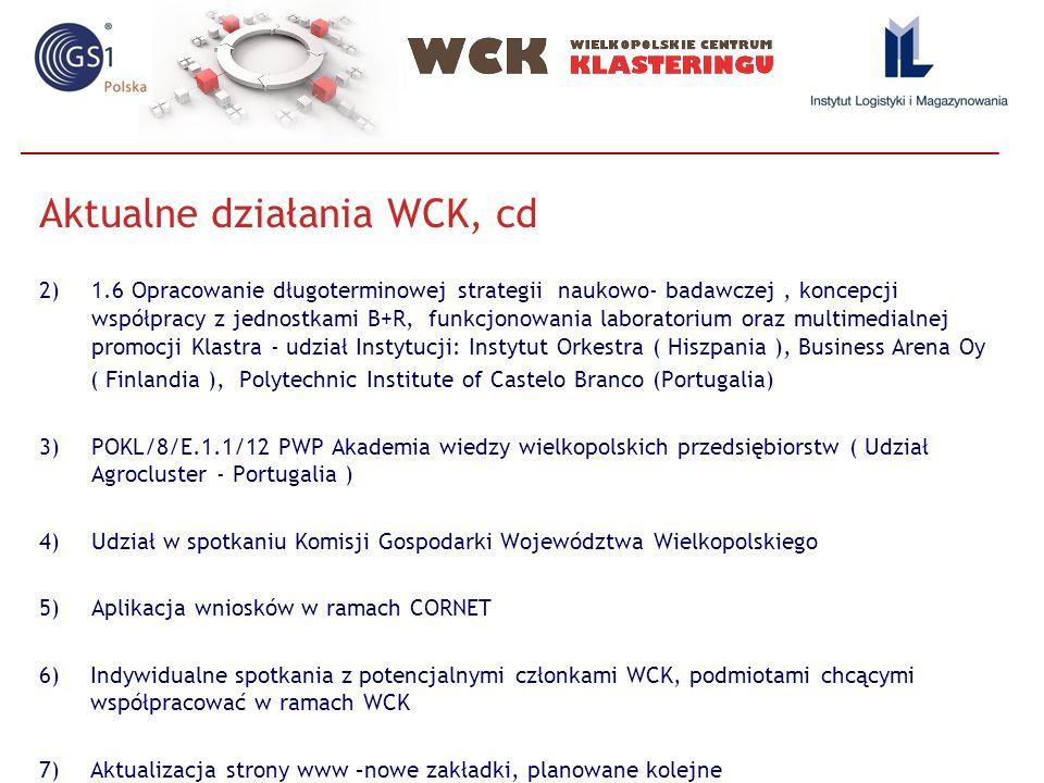 Aktualne działania WCK, cd 2)1.6 Opracowanie długoterminowej strategii naukowo- badawczej, koncepcji współpracy z jednostkami B+R, funkcjonowania labo