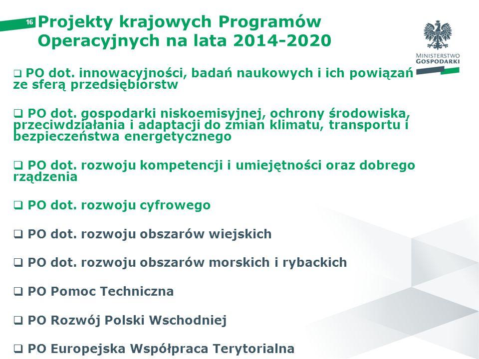 16 Projekty krajowych Programów Operacyjnych na lata 2014-2020  PO dot. innowacyjności, badań naukowych i ich powiązań ze sferą przedsiębiorstw  PO