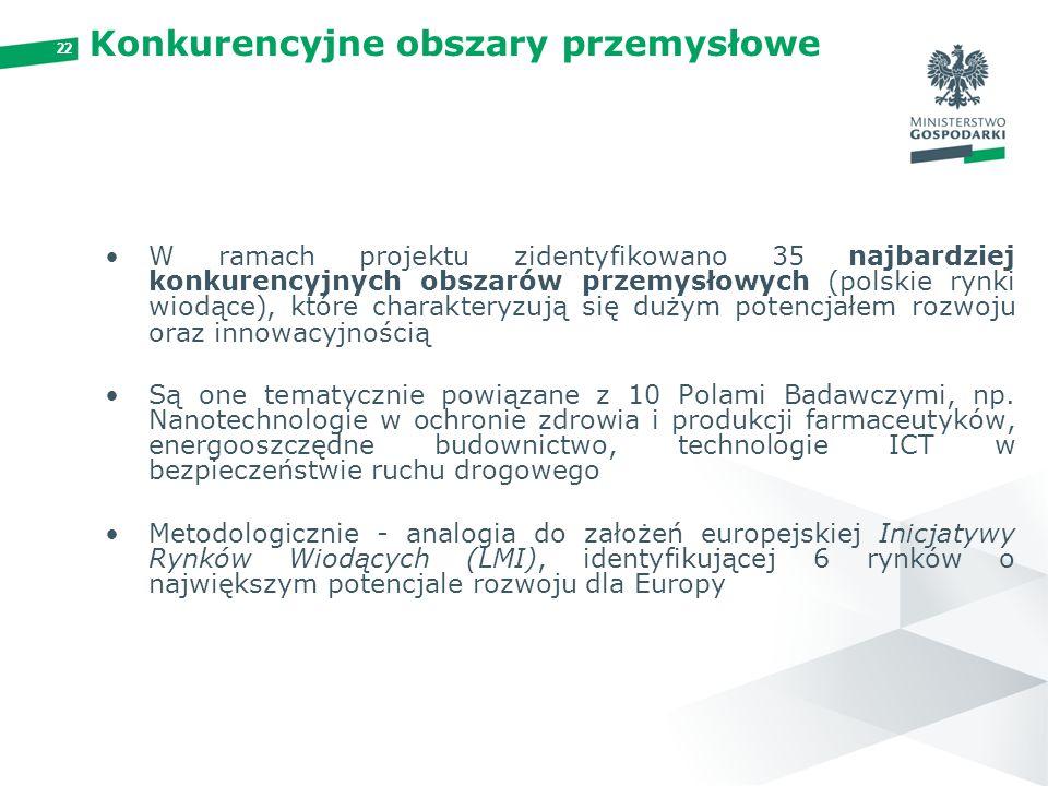 22 Konkurencyjne obszary przemysłowe W ramach projektu zidentyfikowano 35 najbardziej konkurencyjnych obszarów przemysłowych (polskie rynki wiodące),