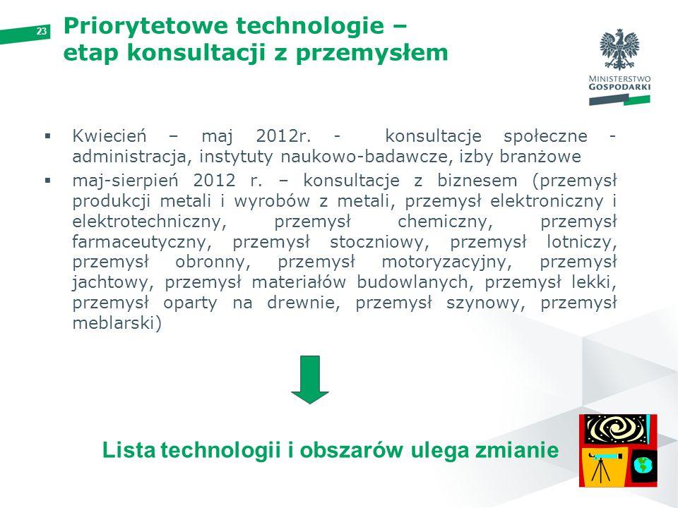 23 Priorytetowe technologie – etap konsultacji z przemysłem  Kwiecień – maj 2012r. - konsultacje społeczne - administracja, instytuty naukowo-badawcz