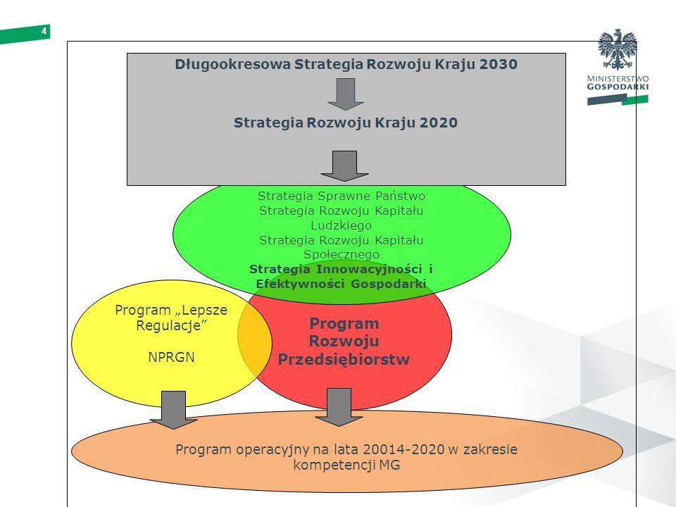 """4 Program Rozwoju Przedsiębiorstw Program """"Lepsze Regulacje NPRGN Strategia Sprawne Państwo Strategia Rozwoju Kapitału Ludzkiego Strategia Rozwoju Kapitału Społecznego Strategia Innowacyjności i Efektywności Gospodarki Długookresowa Strategia Rozwoju Kraju 2030 Strategia Rozwoju Kraju 2020 Program operacyjny na lata 20014-2020 w zakresie kompetencji MG"""