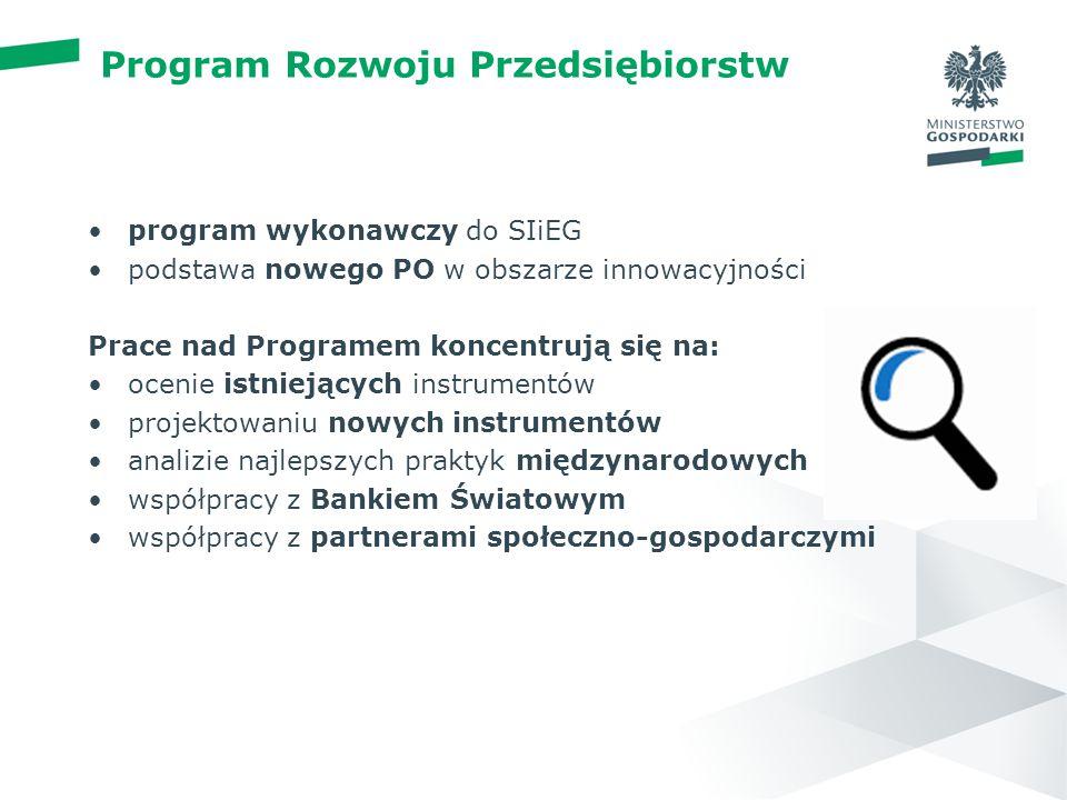 wstęp 01 Program Rozwoju Przedsiębiorstw program wykonawczy do SIiEG podstawa nowego PO w obszarze innowacyjności Prace nad Programem koncentrują się na: ocenie istniejących instrumentów projektowaniu nowych instrumentów analizie najlepszych praktyk międzynarodowych współpracy z Bankiem Światowym współpracy z partnerami społeczno-gospodarczymi