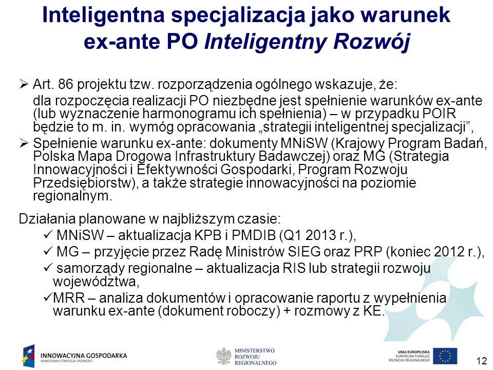 12 Inteligentna specjalizacja jako warunek ex-ante PO Inteligentny Rozwój  Art. 86 projektu tzw. rozporządzenia ogólnego wskazuje, że: dla rozpoczęci