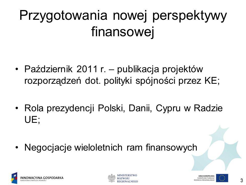 3 Przygotowania nowej perspektywy finansowej Październik 2011 r. – publikacja projektów rozporządzeń dot. polityki spójności przez KE; Rola prezydencj