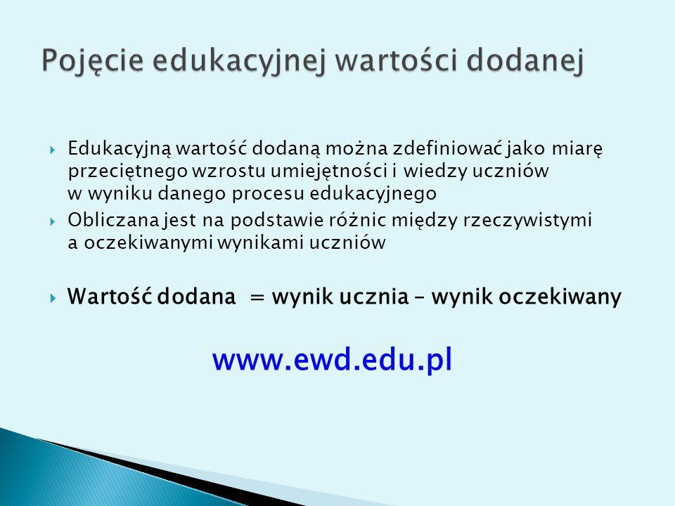  Edukacyjną wartość dodaną można zdefiniować jako miarę przeciętnego wzrostu umiejętności i wiedzy uczniów w wyniku danego procesu edukacyjnego  Obliczana jest na podstawie różnic między rzeczywistymi a oczekiwanymi wynikami uczniów  Wartość dodana = wynik ucznia – wynik oczekiwany www.ewd.edu.pl