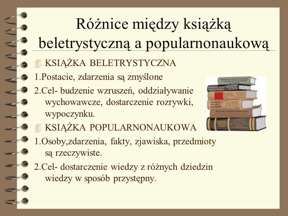 Różnice między książką beletrystyczną a popularnonaukową 4 KSIĄŻKA BELETRYSTYCZNA 1.Postacie, zdarzenia są zmyślone 2.Cel- budzenie wzruszeń, oddziały