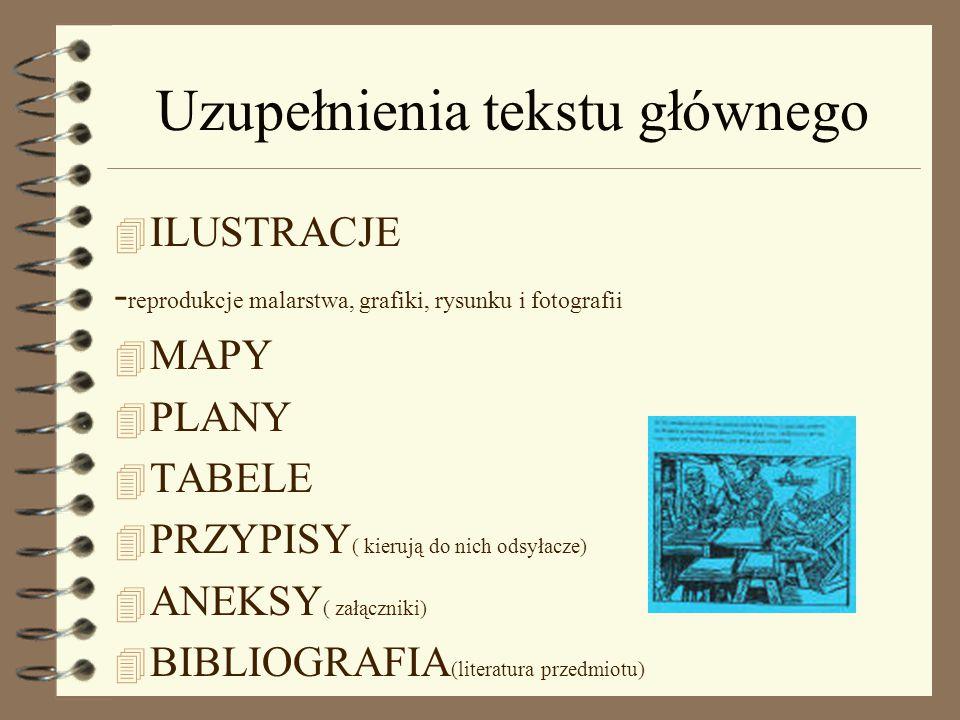 Uzupełnienia tekstu głównego 4 ILUSTRACJE - reprodukcje malarstwa, grafiki, rysunku i fotografii 4 MAPY 4 PLANY 4 TABELE 4 PRZYPISY ( kierują do nich