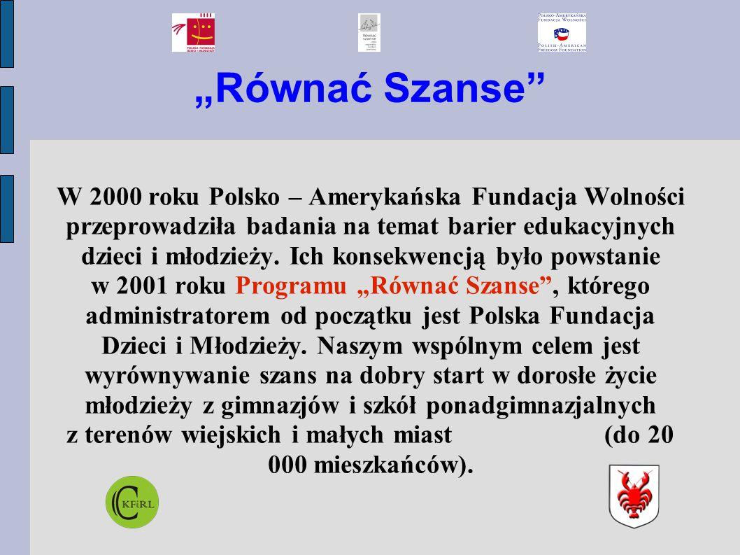 """""""Równać Szanse"""" W 2000 roku Polsko – Amerykańska Fundacja Wolności przeprowadziła badania na temat barier edukacyjnych dzieci i młodzieży. Ich konsekw"""