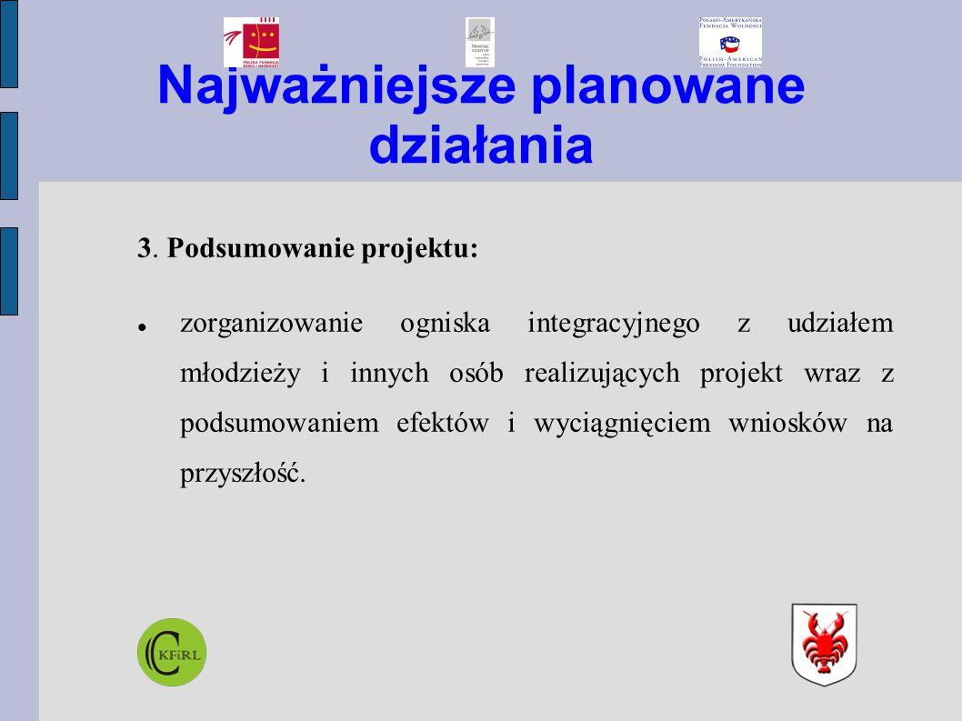 Najważniejsze planowane działania 3. Podsumowanie projektu: zorganizowanie ogniska integracyjnego z udziałem młodzieży i innych osób realizujących pro