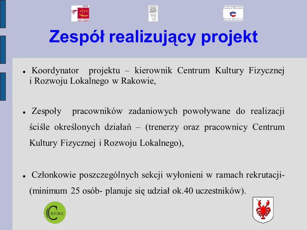 Zespół realizujący projekt Koordynator projektu – kierownik Centrum Kultury Fizycznej i Rozwoju Lokalnego w Rakowie, Zespoły pracowników zadaniowych p