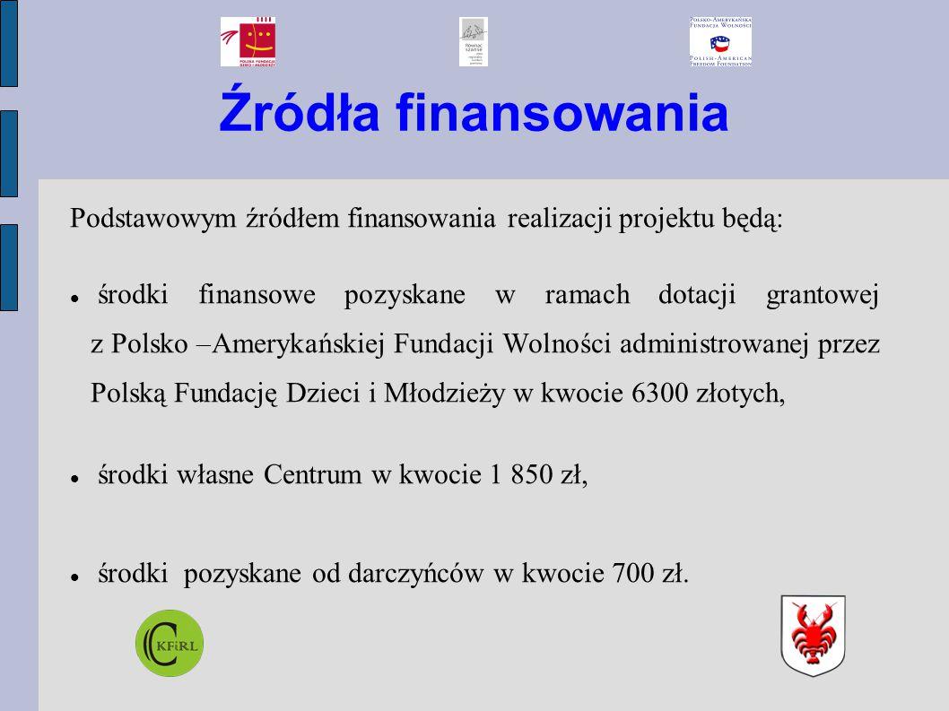 Źródła finansowania Podstawowym źródłem finansowania realizacji projektu będą: środki finansowe pozyskane w ramach dotacji grantowej z Polsko –Amerykańskiej Fundacji Wolności administrowanej przez Polską Fundację Dzieci i Młodzieży w kwocie 6300 złotych, środki własne Centrum w kwocie 1 850 zł, środki pozyskane od darczyńców w kwocie 700 zł.