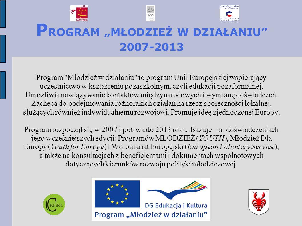 """P ROGRAM """"MŁODZIEŻ W DZIAŁANIU 2007-2013 Program Młodzież w działaniu to program Unii Europejskiej wspierający uczestnictwo w kształceniu pozaszkolnym, czyli edukacji pozaformalnej."""