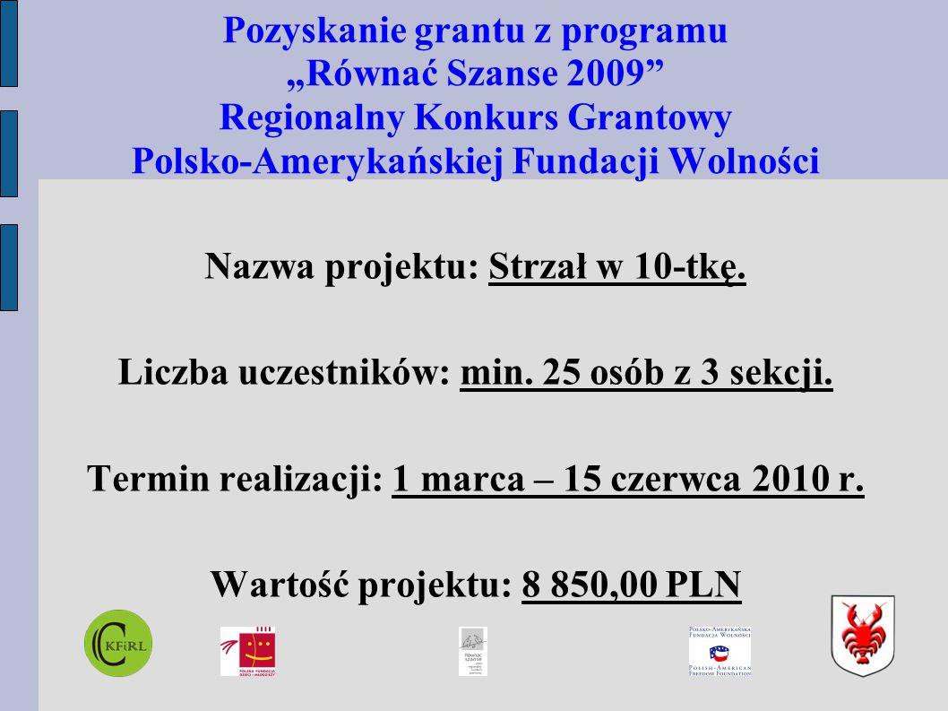 """Pozyskanie grantu z programu """"Równać Szanse 2009 Regionalny Konkurs Grantowy Polsko-Amerykańskiej Fundacji Wolności Nazwa projektu: Strzał w 10-tkę."""