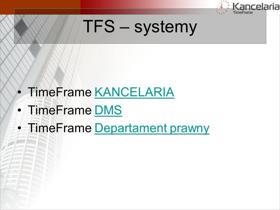 TFS – systemy TimeFrame KANCELARIAKANCELARIA TimeFrame DMSDMS TimeFrame Departament prawnyDepartament prawny