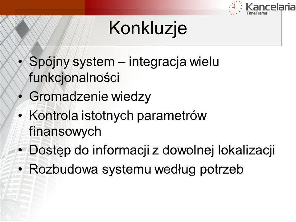 Spójny system – integracja wielu funkcjonalności Gromadzenie wiedzy Kontrola istotnych parametrów finansowych Dostęp do informacji z dowolnej lokalizacji Rozbudowa systemu według potrzeb Konkluzje