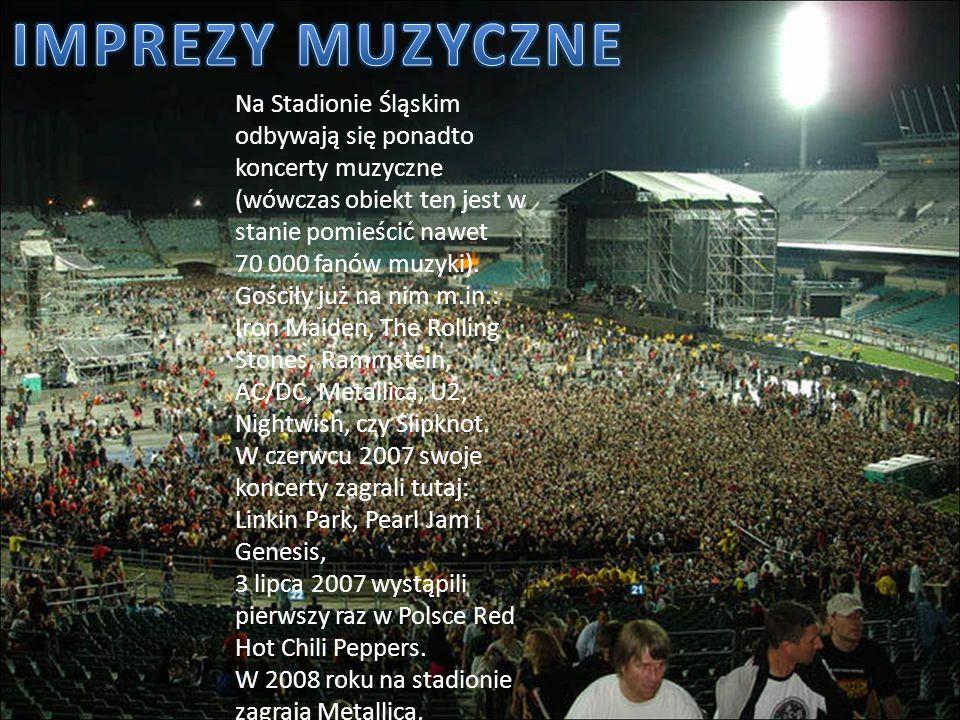 Na Stadionie Śląskim odbywają się ponadto koncerty muzyczne (wówczas obiekt ten jest w stanie pomieścić nawet 70 000 fanów muzyki). Gościły już na nim