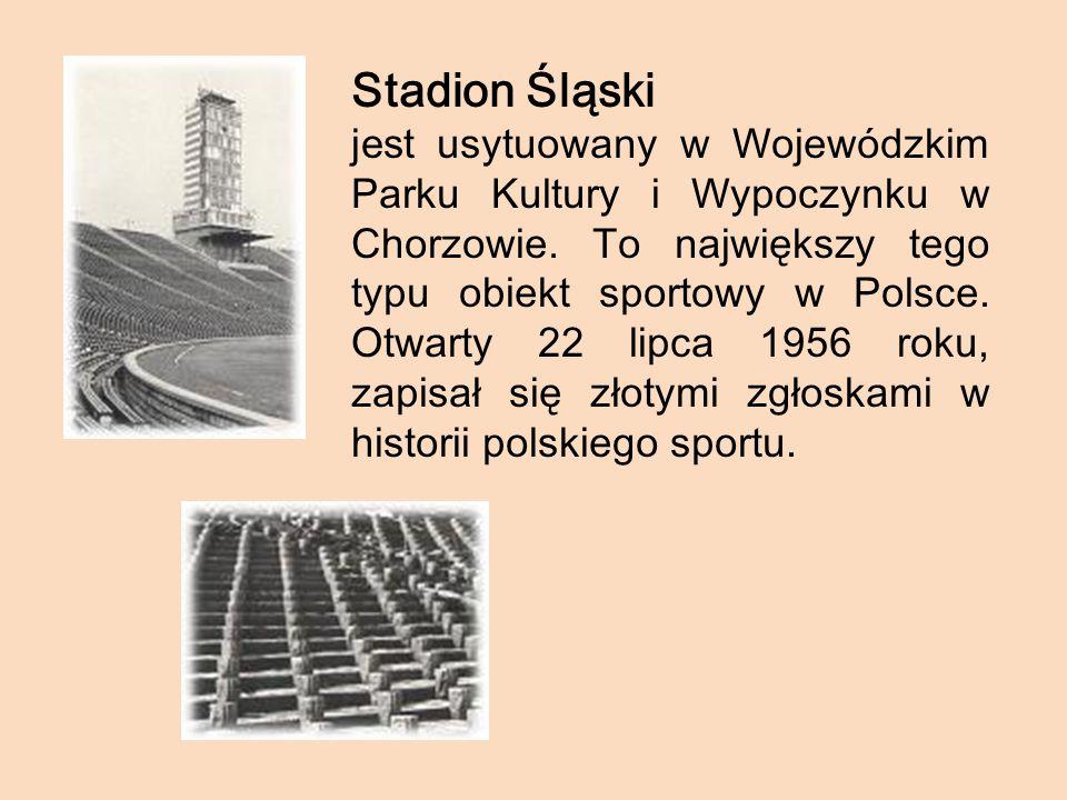 Stadion Śląski jest u sytuowany w Wojewódzkim Parku Kultury i Wypoczynku w Chorzowie. T o największy tego typu obiekt sportowy w Polsce. Otwarty 22 li