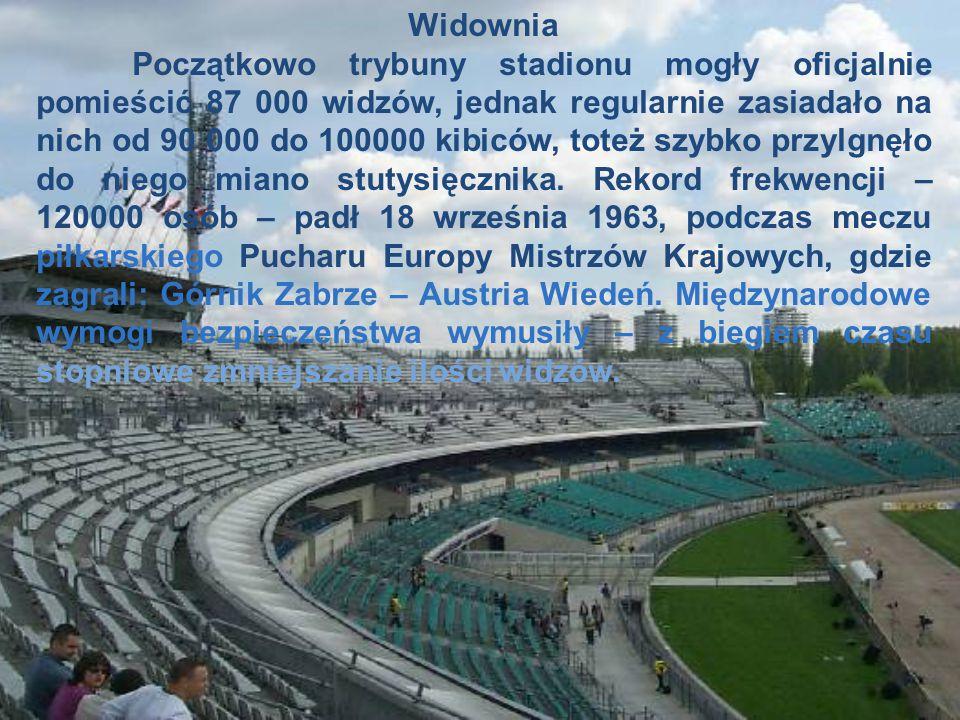 Widownia Początkowo trybuny stadionu mogły oficjalnie pomieścić 87 000 widzów, jednak regularnie zasiadało na nich od 90 000 do 100000 kibiców, toteż szybko przylgnęło do niego miano stutysięcznika.