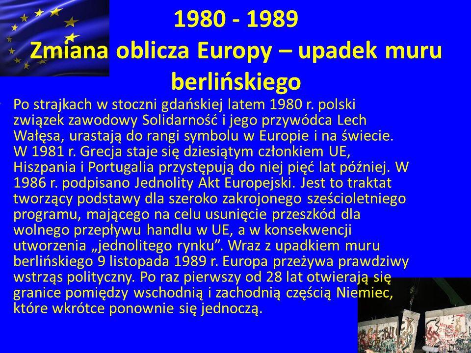 1980 - 1989 Zmiana oblicza Europy – upadek muru berlińskiego Po strajkach w stoczni gdańskiej latem 1980 r.