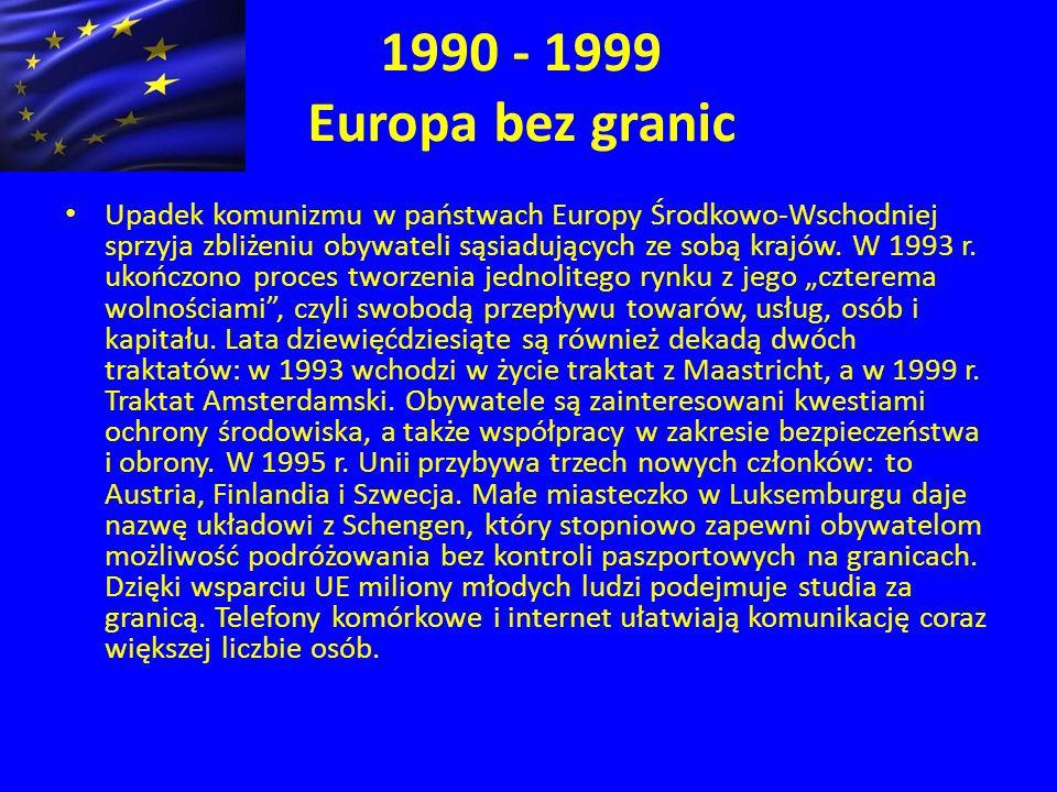 1990 - 1999 Europa bez granic Upadek komunizmu w państwach Europy Środkowo-Wschodniej sprzyja zbliżeniu obywateli sąsiadujących ze sobą krajów.