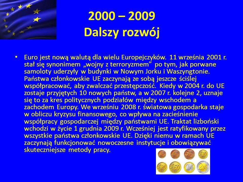 2000 – 2009 Dalszy rozwój Euro jest nową walutą dla wielu Europejczyków.