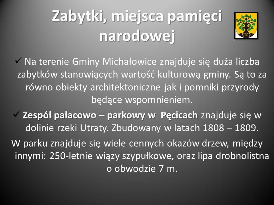 Zabytki, miejsca pamięci narodowej Na terenie Gminy Michałowice znajduje się duża liczba zabytków stanowiących wartość kulturową gminy.