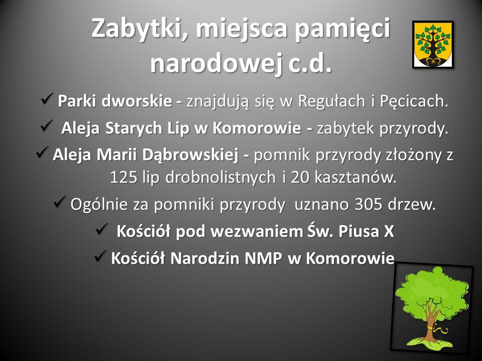 Zabytki, miejsca pamięci narodowej c.d.Parki dworskie - znajdują się w Regułach i Pęcicach.