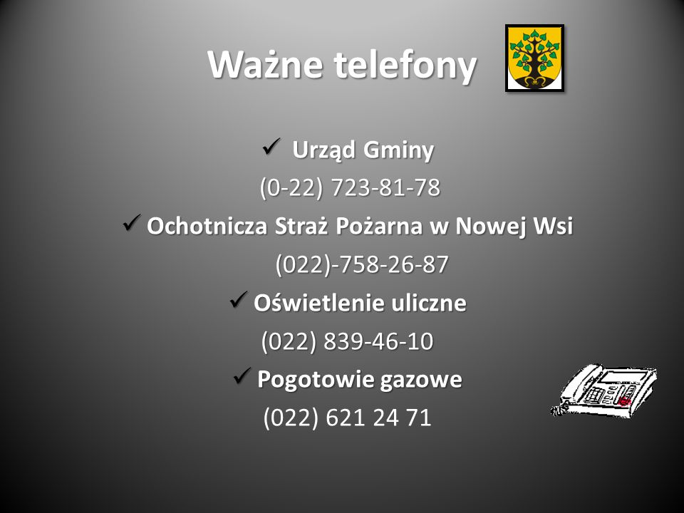 Ważne telefony Urząd Gminy Urząd Gminy (0-22) 723-81-78 (0-22) 723-81-78 Ochotnicza Straż Pożarna w Nowej Wsi Ochotnicza Straż Pożarna w Nowej Wsi (022)-758-26-87 (022)-758-26-87 Oświetlenie uliczne Oświetlenie uliczne (022) 839-46-10 Pogotowie gazowe Pogotowie gazowe (022) 621 24 71