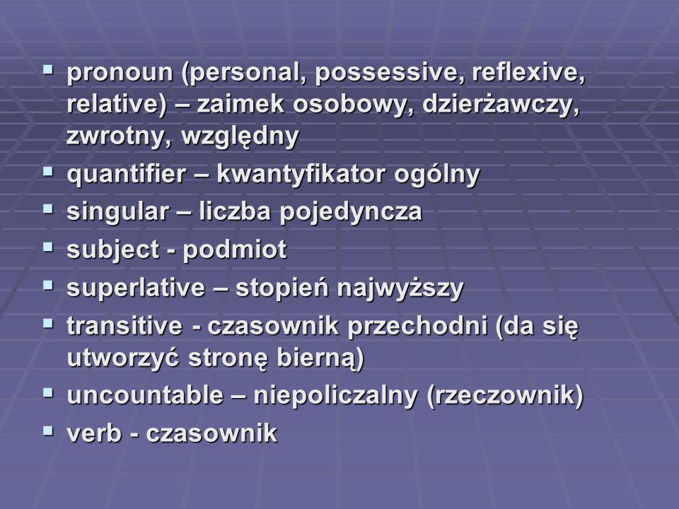  pronoun (personal, possessive, reflexive, relative) – zaimek osobowy, dzierżawczy, zwrotny, względny  quantifier – kwantyfikator ogólny  singular