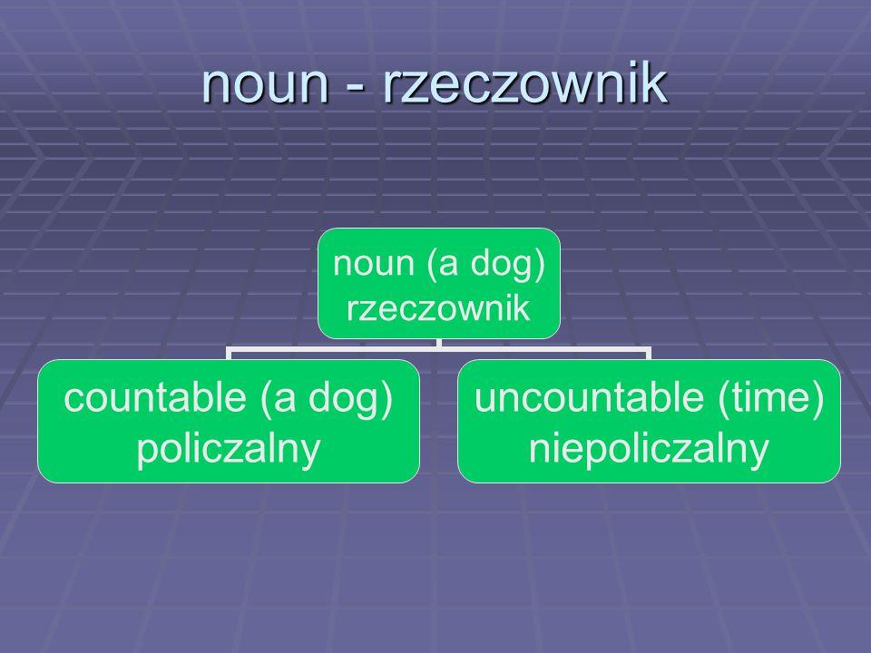 noun - rzeczownik noun (a dog) rzeczownik countable (a dog) policzalny uncountable (time) niepoliczalny