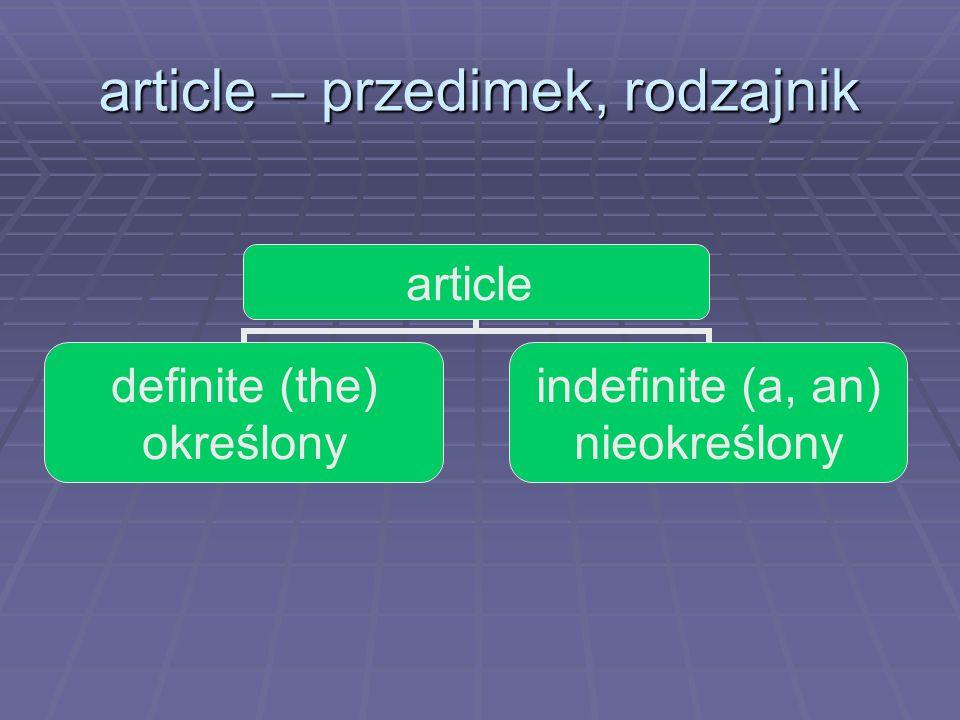 article – przedimek, rodzajnik article definite (the) określony indefinite (a, an) nieokreślony